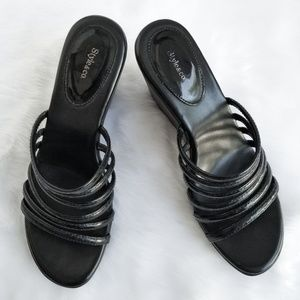 Style & Co Black Patent Leather Wedge Sandals